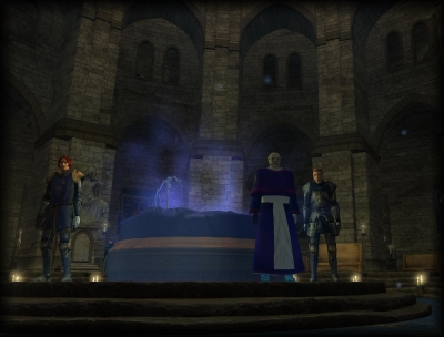 High Priest Stimpiir greets visitors before the sacred Vault of Alyonis